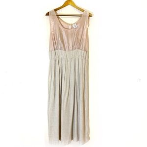 Vintage Empire Waist Full Length Linen Blend Dress